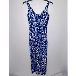 J McLaughlin Maxi Dress Small Blue Chains Links Sl